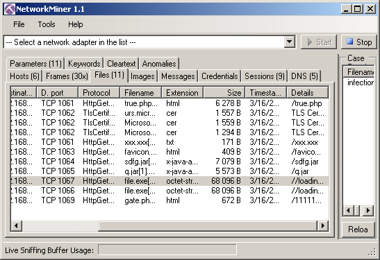 NetworkMiner for Analyzing Network Streams and Pcap Files