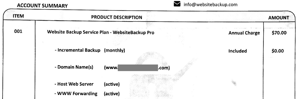 websitebackup-account-summary