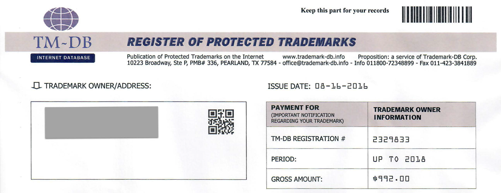 Patriotexpressus  Unique Misleading Trademark Registration Invoices And Scams With Interesting The Letter Looks Like An Official Invoice For Trademark Registration In Reality The Solicited  Fee Is For The Proposed Service That The Notice  With Astounding Irs Scanned Receipts Also Receipt Scanner Mac In Addition Statement Of Receipt And Simple Receipt Template Word As Well As Neat Receipt App Additionally Delaware Division Of Revenue Gross Receipts From Zeltsercom With Patriotexpressus  Interesting Misleading Trademark Registration Invoices And Scams With Astounding The Letter Looks Like An Official Invoice For Trademark Registration In Reality The Solicited  Fee Is For The Proposed Service That The Notice  And Unique Irs Scanned Receipts Also Receipt Scanner Mac In Addition Statement Of Receipt From Zeltsercom